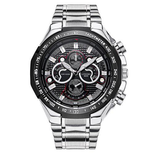 Waterproof Tachymeter Metal Analog WatchJEWELRY<br><br>Color: BLACK; Gender: For Men; Style: Formal; Type: Quartz watch; Index Dial: Analog; Case material: Alloy; Band material: Stainless Steel; Movement: Quartz; Dial Shape: Round; Water-Proof: Yes; Case Thickness(MM): 1.3cm; Band Length(CM): 23.5cm; Band Width(CM): 2-2.9cm; Package Contents: 1 x Watch;