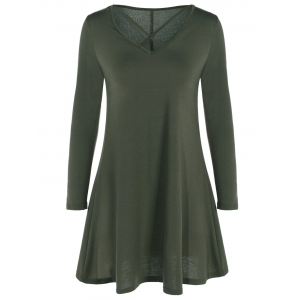Criss Cross A-Line Long Sleeve V Neck T Shirt Dress
