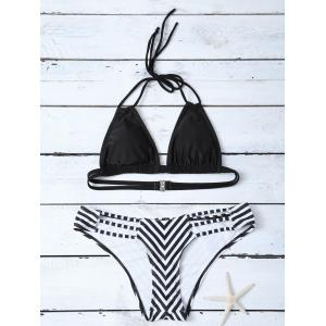 Halter Stripe Panel Cutout Bikini Set
