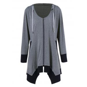 Plus Size Zip Up Asymmetrical Hoodie - Black And Grey - 2xl
