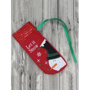 Merry Christmas Snowman Wine Bottle Cover Bag Table Decoration - RED