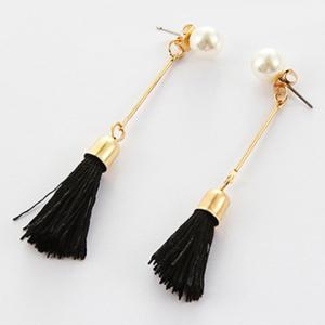 Faux Pearl Tassel Ear Jackets - Black - 2xl