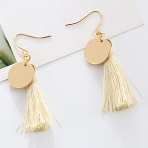Round Tassel Drop Earrings - White
