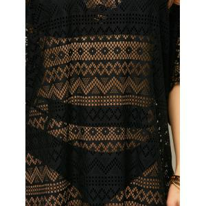 Openwork See Thru Beach Tunic Cover Up - BLACK ONE SIZE