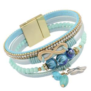 Infinity Starfish Beads Rhinestone Strand Bracelet - Light Blue - Xl