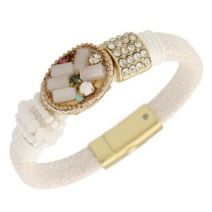 Vintage Beads Fake Gemstone Rhinestone Bracelet - White - Us Plug