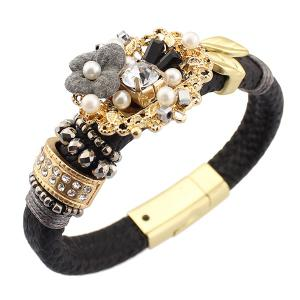 Vintage Flower Fake Pearl Leather Bracelet - Black