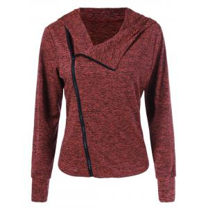Inclined Zip Heather Curved Hoodie