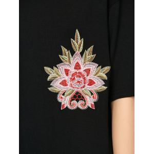 Embroidered Casual Summer T-Shirt Dress - BLACK L