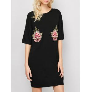 Embroidered Casual Shift Summer T-Shirt Dress - Black - M