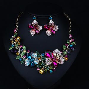 Fake Crystal Flower Bib Charm Necklace and Earrings - Colorful