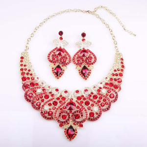 Fake Diamond Crystal Heart Hollowed Necklace and Earrings - Red