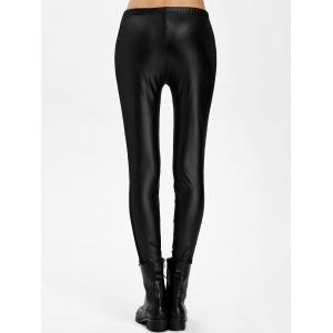 Mesh Panel PU Leather Leggings -