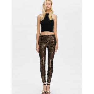 Mesh Insert Leopard Sheer Leggings - LEOPARD ONE SIZE