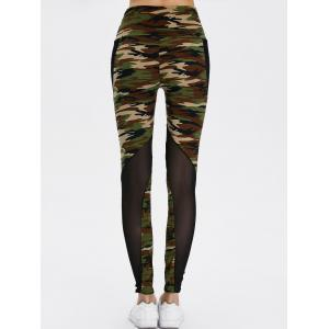 Mesh Insert Camo High Waist Leggings -