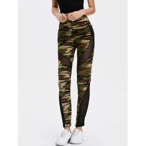 Mesh Insert Camo High Waist Leggings - Camouflage Color - One Size