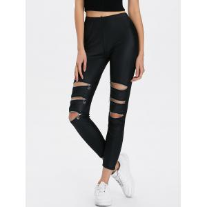 Zippers Ripped Ninth Length Leggings - Black - One Size