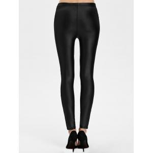Lace Panel See Thru Ankle Length Leggings - BLACK ONE SIZE