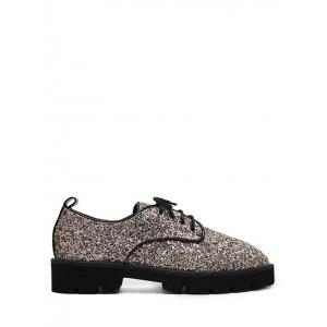 Glitter Sequined Lace Up Flat Shoes - Golden - 37