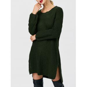 Crew Neck High Low Chunky Knit Sweater