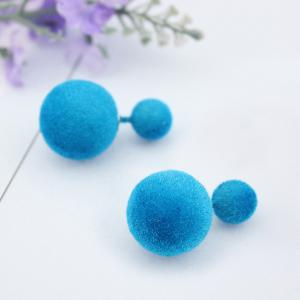 Two Fuzzy Ball Candy Color Stud Earrings - AZURE