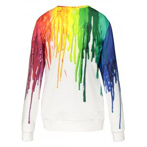 3D Splatter Paint Sweatshirt - WHITE 2XL