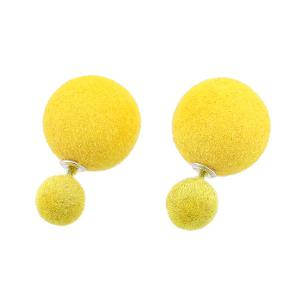 Two Fuzzy Ball Candy Color Stud Earrings - Yellow