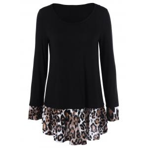 Leopard Print Panel Tunic T-Shirt