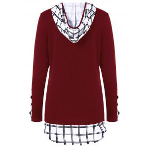 Hooded Plaid Trim Curved T-Shirt -