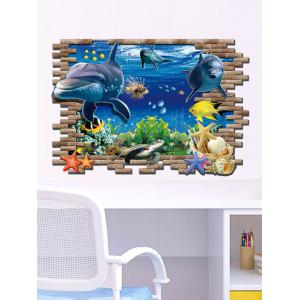 3D Sea World Toilet Decoration Wall Stickers - Colormix - 60*90cm