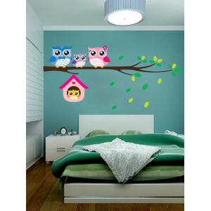Owl Animal Removable Kids Room Cartoon Wall Stickers - Colorful - 21*29cm