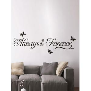 Letter Words Removable Living Room Vinyl Wall Stickers Custom - Black - W71 Inch * L71 Inch