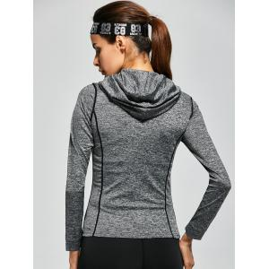 Drawstring Long Sleeve Hooded Running Gym T-Shirt - GRAY XL