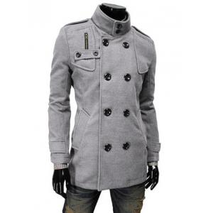 Stand Collar Double Breasted Zip Embellished Coat - Light Gray - M
