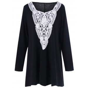 Plus Size Crochet Panel Longline T-Shirt