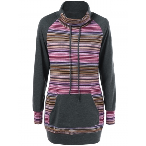 Striped Turtleneck Kangaroo Pocket Sweatshirt