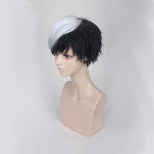 Short Side Bang Straight Synthetic Cosplay Wig - WHITE AND BLACK
