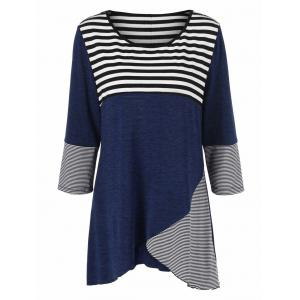 Plus Size Striped Tunic T-Shirt - Deep Blue - Xl