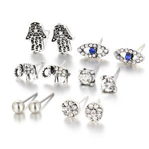 Rhinestone Devil Eye Elephant Earring Set - Silver - 9