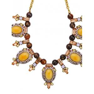 Artificial Gem Oval Beads Necklace -