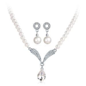 Rhinestone Artificial Pearl Beaded Bridal Necklace and Earrings