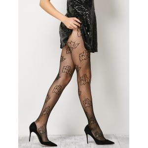 See-Through Floral Fishnet Pantyhose - Black - One Size