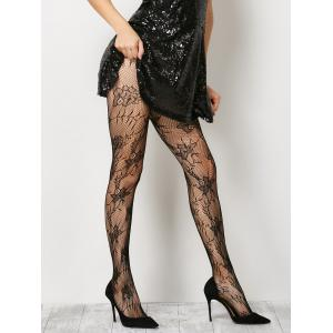 See-Through Floral Crochet Pantyhose - Black - One Size
