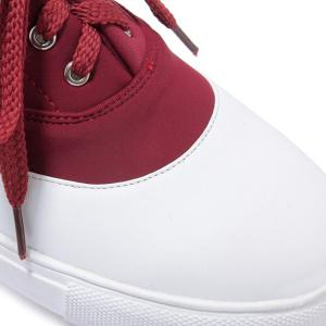 Tie Up Color Block Athletic Shoes - BURGUNDY 37