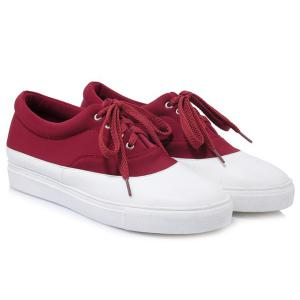 Tie Up Color Block Athletic Shoes -
