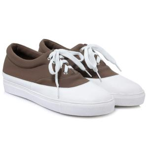 Tie Up Color Block Athletic Shoes - DARK KHAKI 39