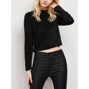 Fuzzy Cropped High Neck T-Shirt - Black - M