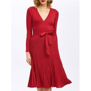 Pleated Surplice Knee Length Long Sleeve Jersey Dress - Red - S