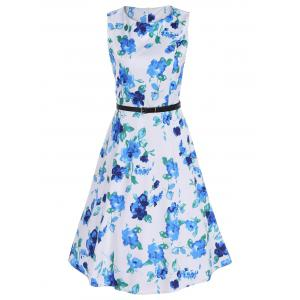 Flower Print Vintage Dress with Belt