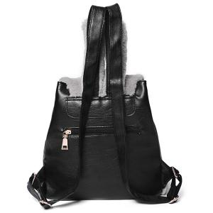 Rabbit Ear Faux Fur Panel Backpack - BLACK